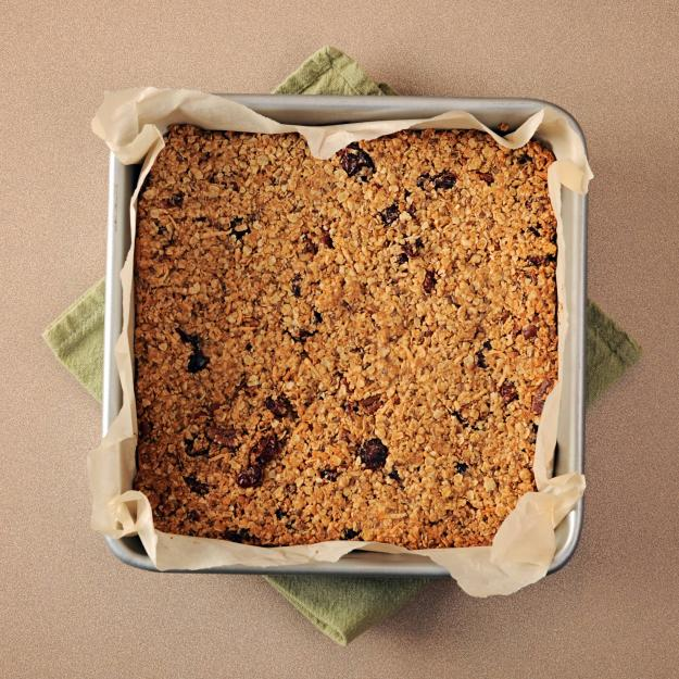 A tray of baked oatmeal.